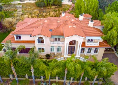 Custom Built Home front yard aerial view in Los Angeles by HT Constructions